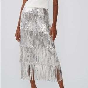 Zara Limited edition sequin fringed skirt silver